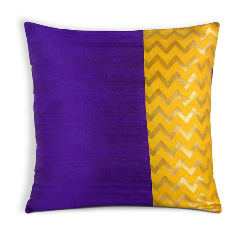Purple and Yellow Chevron Pillow Cover
