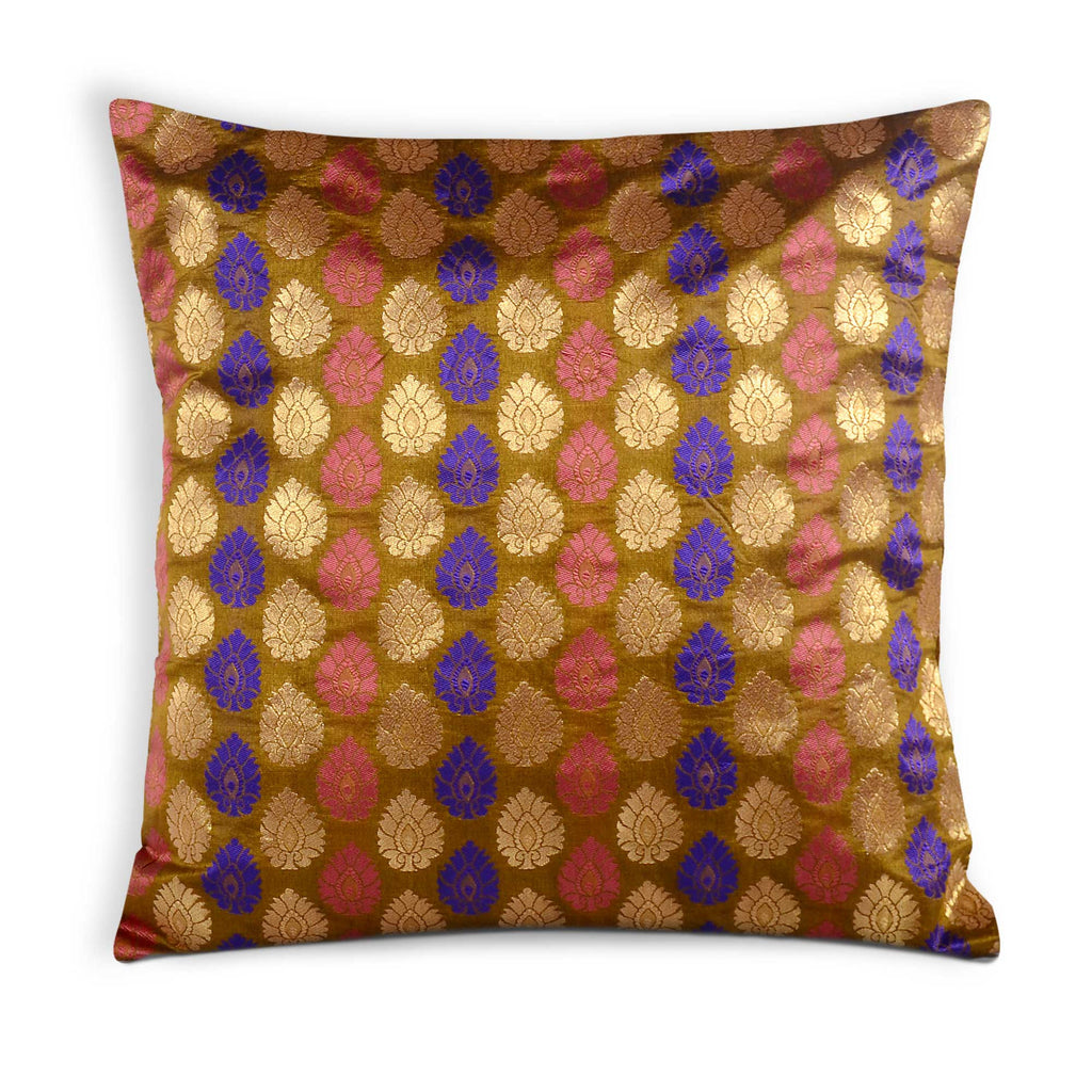 Pink and Olive Silk Cushion Cover Buy Online From DesiCrafts