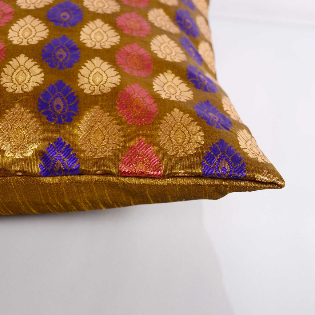 Pink and Olive Silk Cushion Cover Buy Online