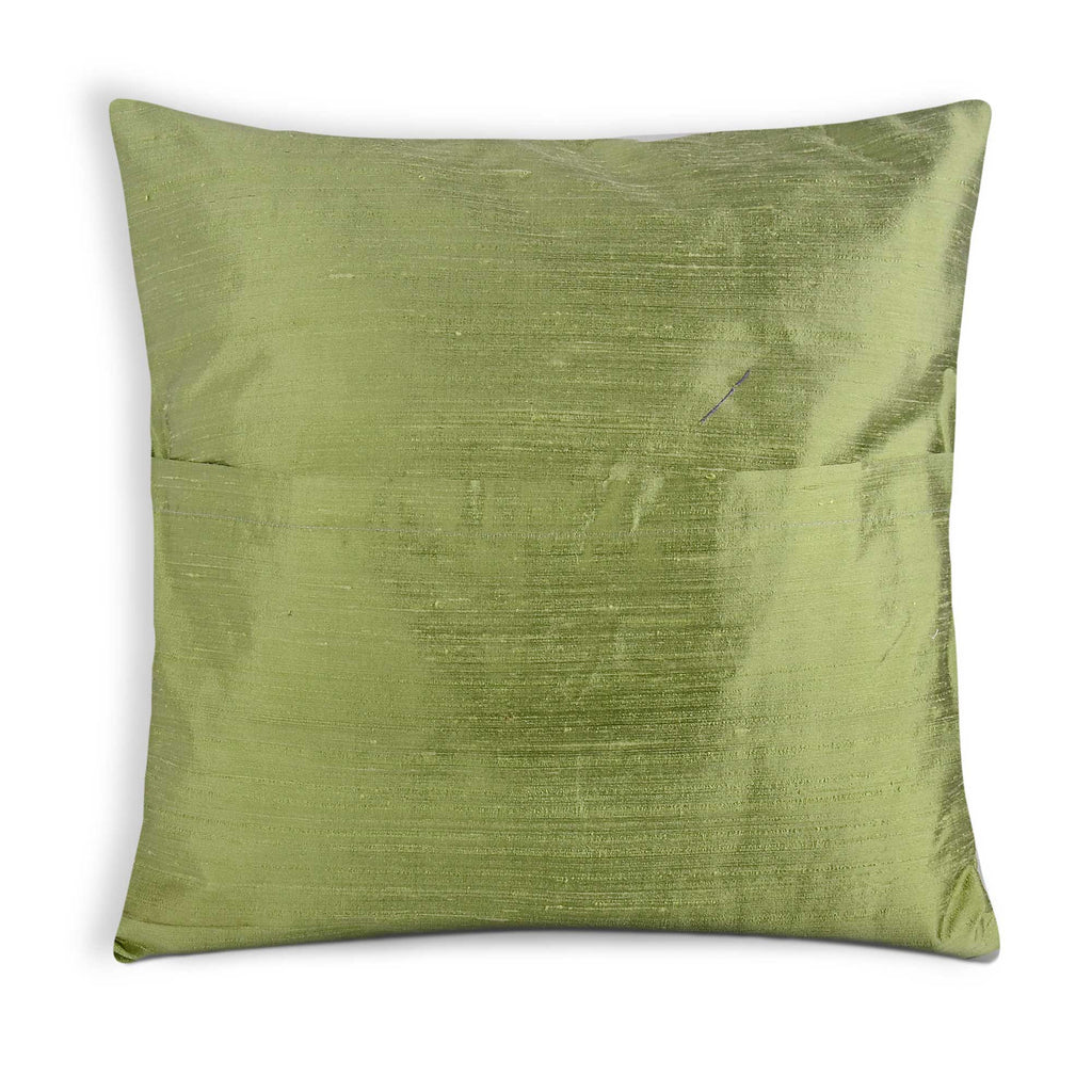 envelope style pistachio raw silk pillow