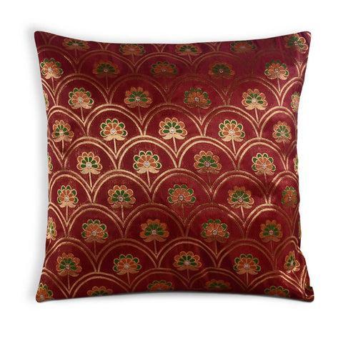 Rust and Gold Floral Banaras Silk Pillow Cover