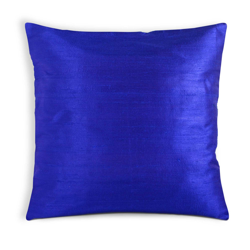 royal blue raw silk pillow cover