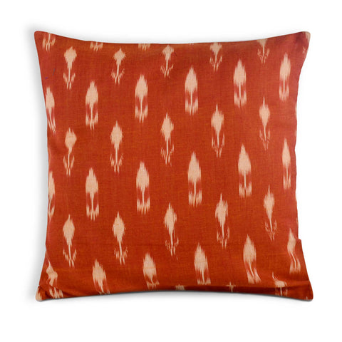 Rust and Beige handloom ikat pillow cover