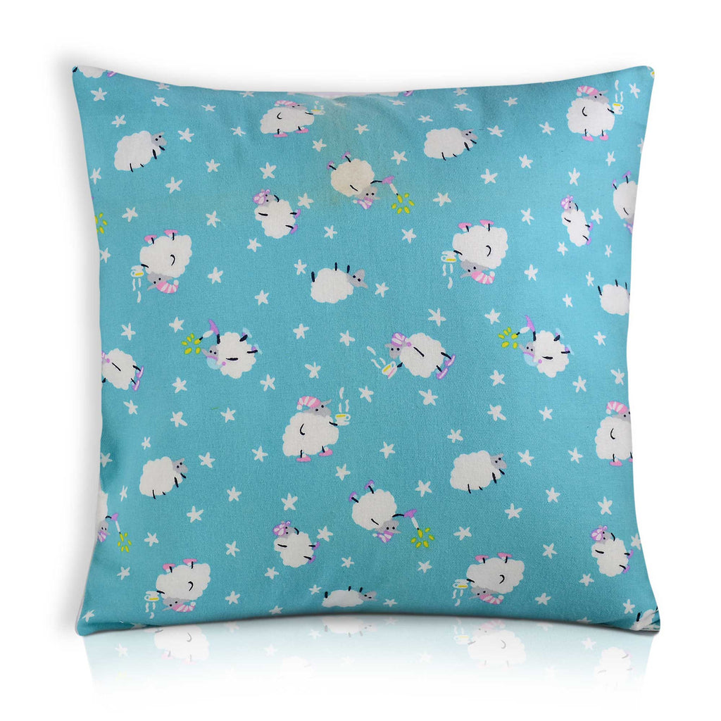 sky blue cotton pillow cover