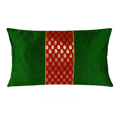 Emerald Green and Red Raw Silk Ikat Lumbar Pillow Cover