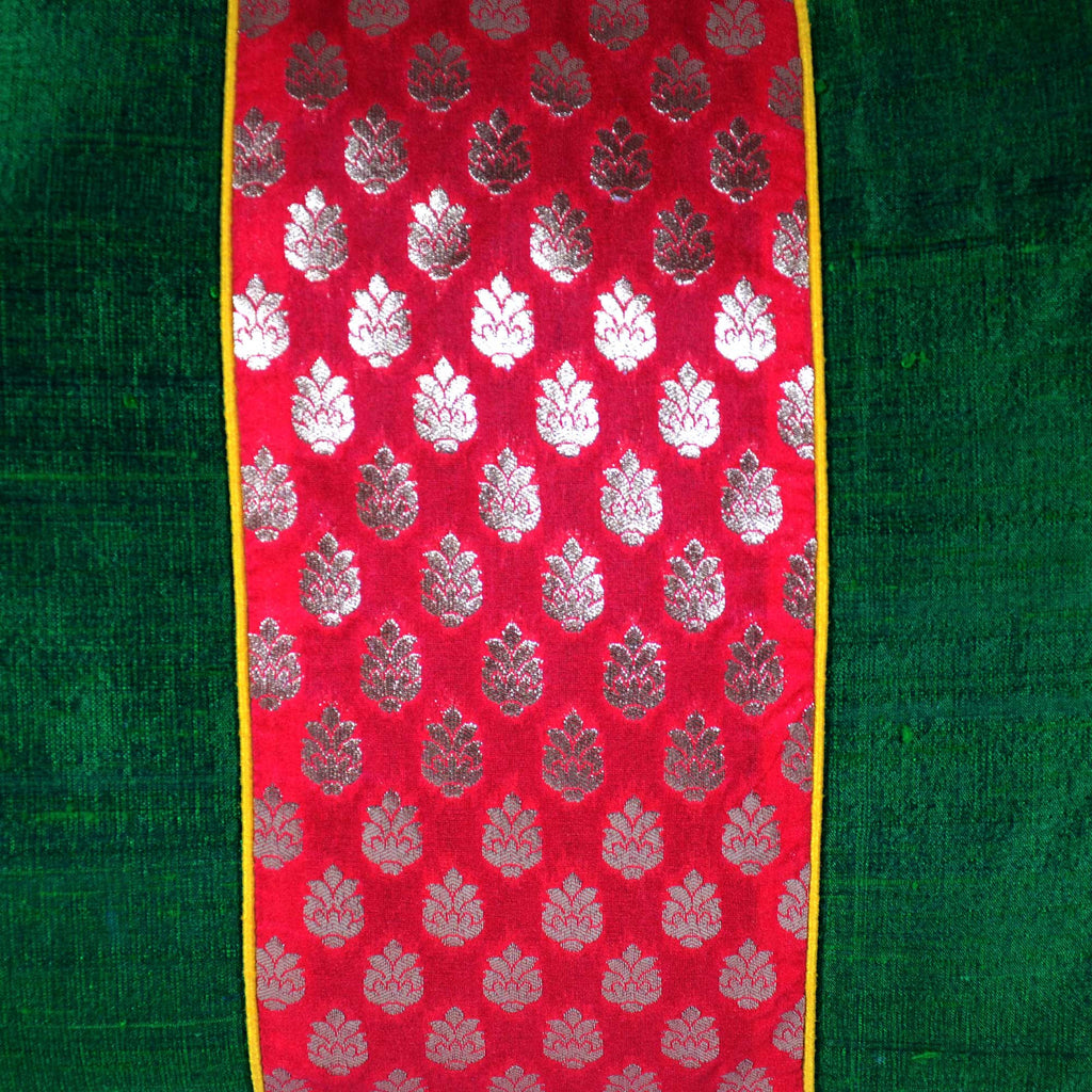 Emerald Green and Red Raw Silk Ikat Lumbar Pillow Cover Buy Online