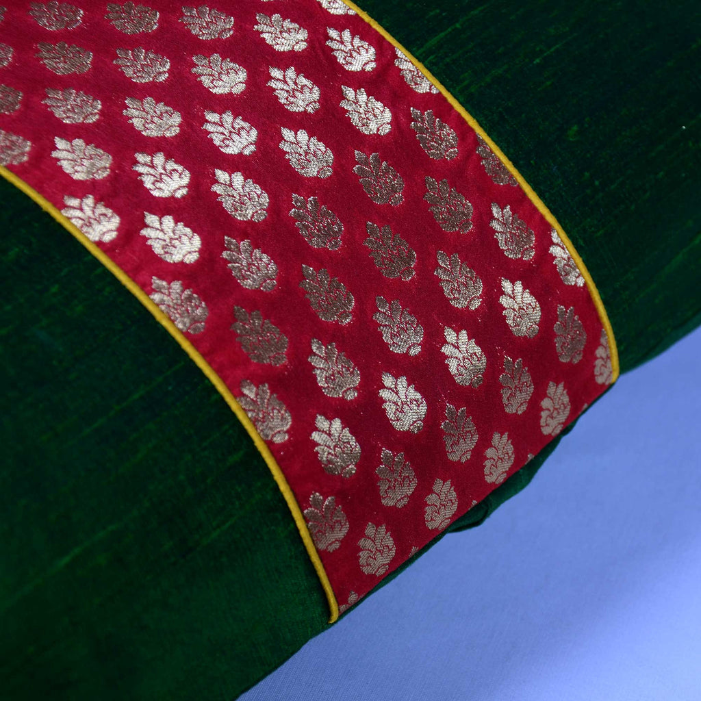 Emerald Green and Red Raw Silk Ikat Lumbar cushionCover