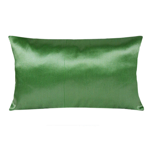 Green Silver Silk Lumbar Pillow Cover