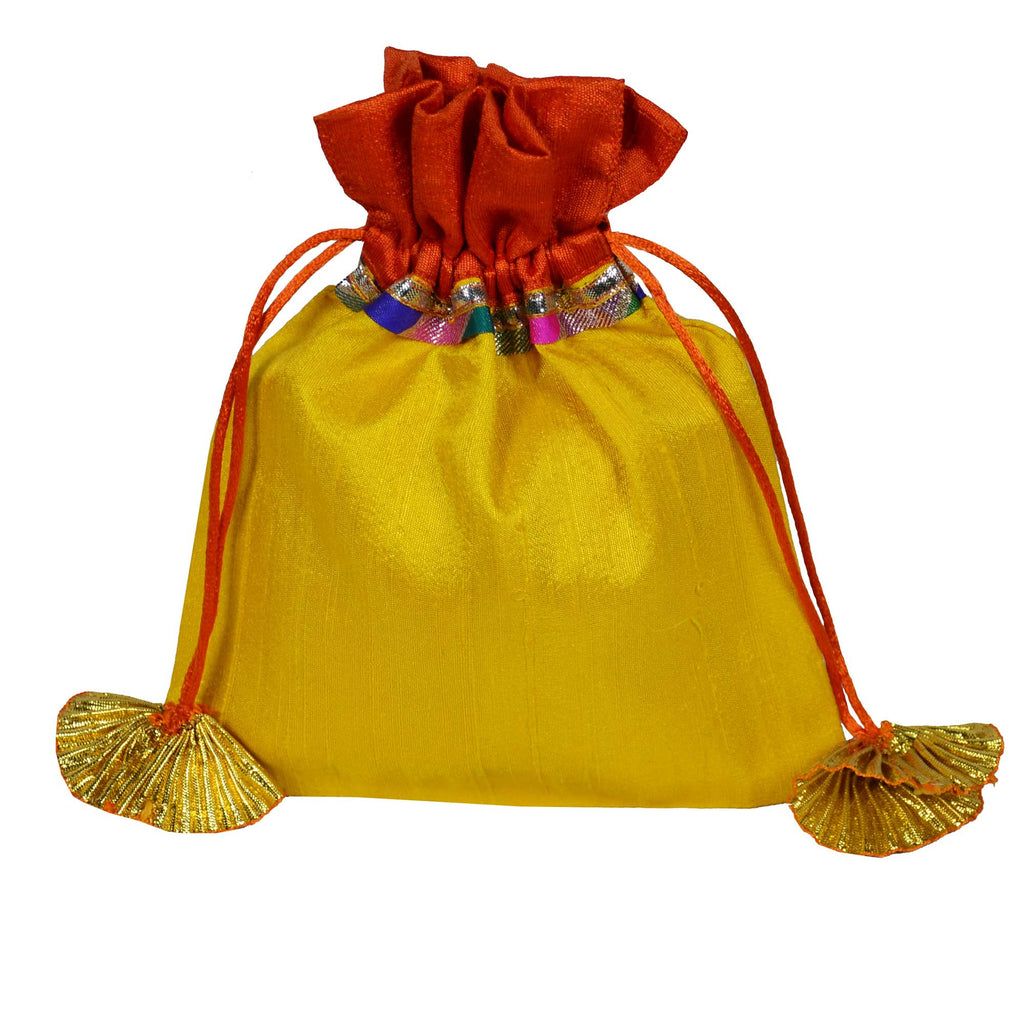 Yellow and Orange Raw Silk Gota Drawstring Bag Buy online from DesiCrafts