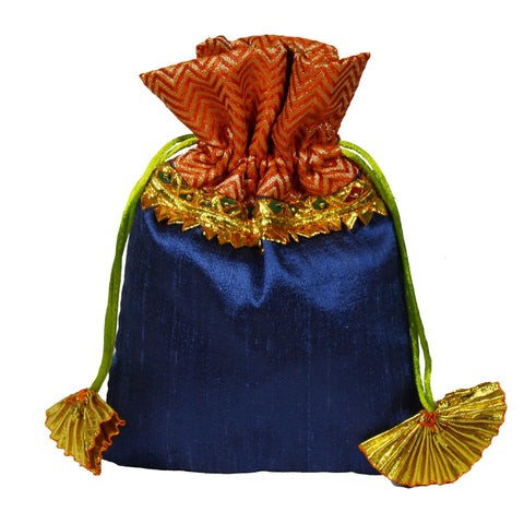 Grey and Orange Raw Silk Gota Drawstring Bag
