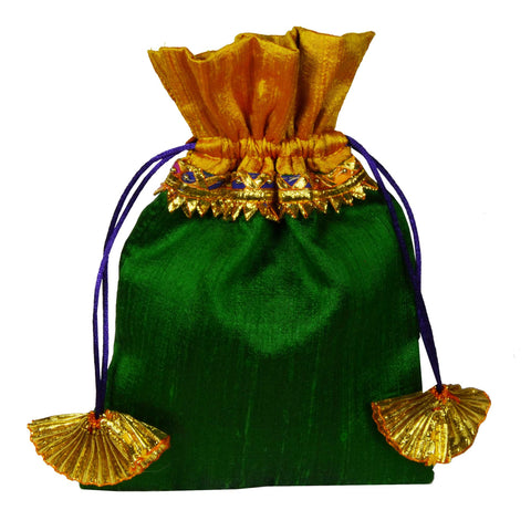 Green and Yellow Raw Silk Gota Drawstring Bag Handmade by DesiCrafts