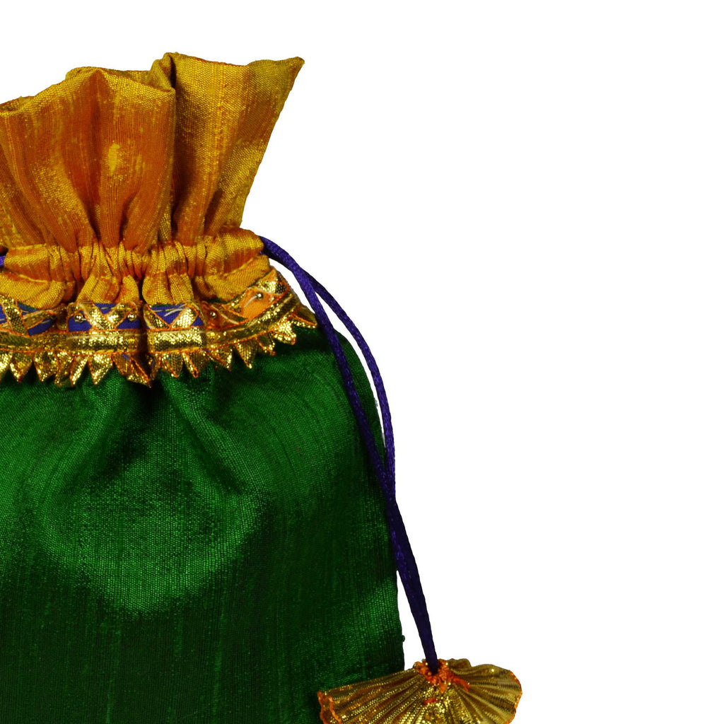 Green and Yellow Raw Silk Gota Drawstring Bag Buy Online from India