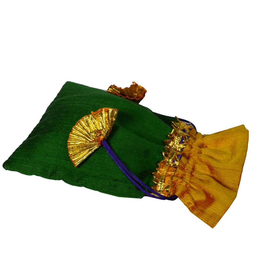 Green and Yellow Raw Silk Gota Drawstring Bag Indian Wedding Favor