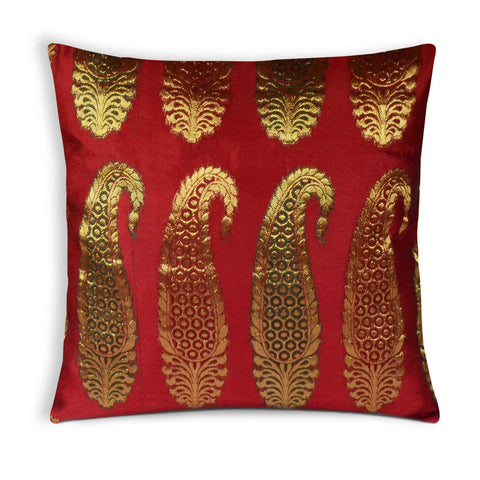 Red Gold Chanderi Silk Pillow Cover