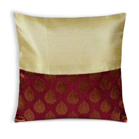 Dull Gold Coral Banaras Silk Pillow Cover