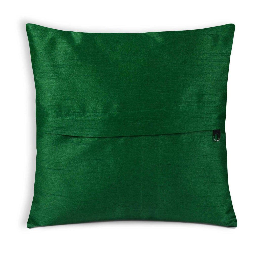 Zipper style Green Olive Pink Multicolored Raw SIlk Pillow Cover