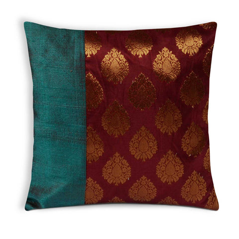 Teal Red Gold Raw Silk Banaras Pillow Cover