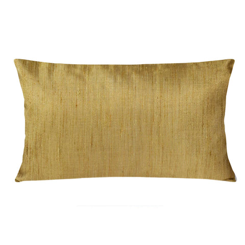 Gold Jacquard Silk Horizontal Cushion Cover Buy Online from DesiCrafts
