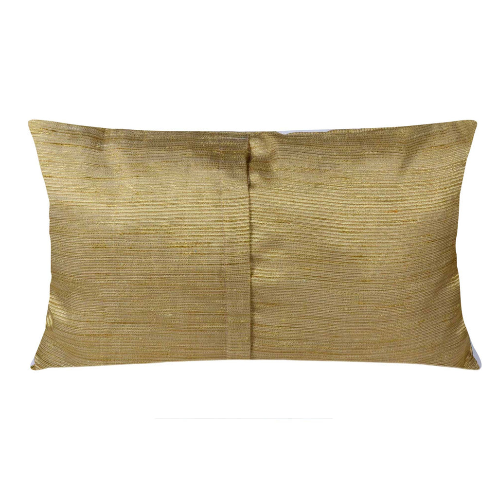 Gold Jacquard Silk Horizontal Cushion Cover