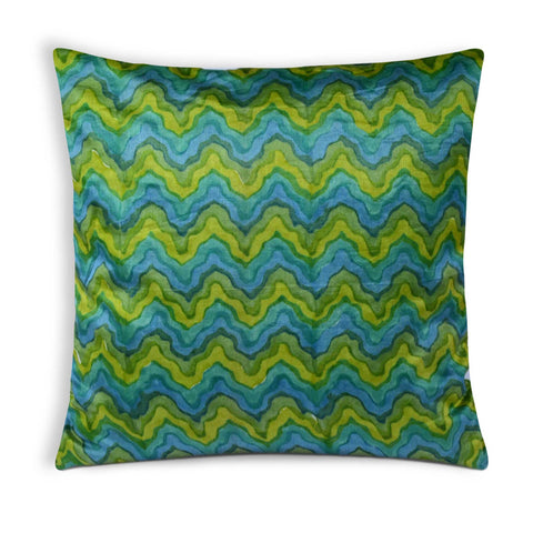 Spring Green Chanderi Silk Pillow Cover