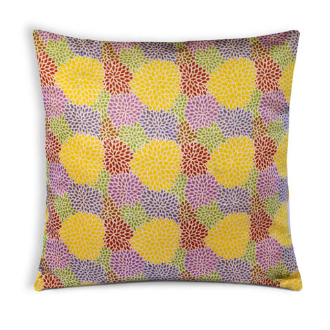 Yellow Chanderi Multicolor Floral Cushion Cover