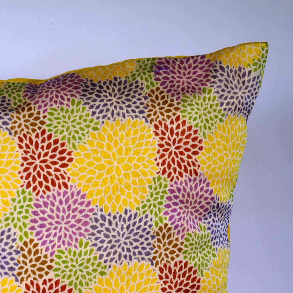 Yellow Chanderi Multicolor Floral Cushion Cover Buy Online  From India