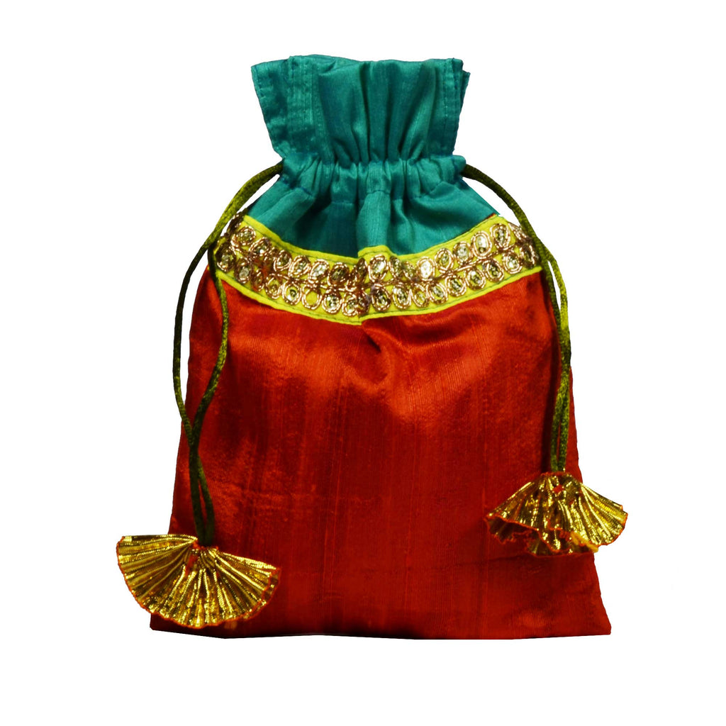 Sea Green and Orange Raw Silk Gota Drawstring Bag
