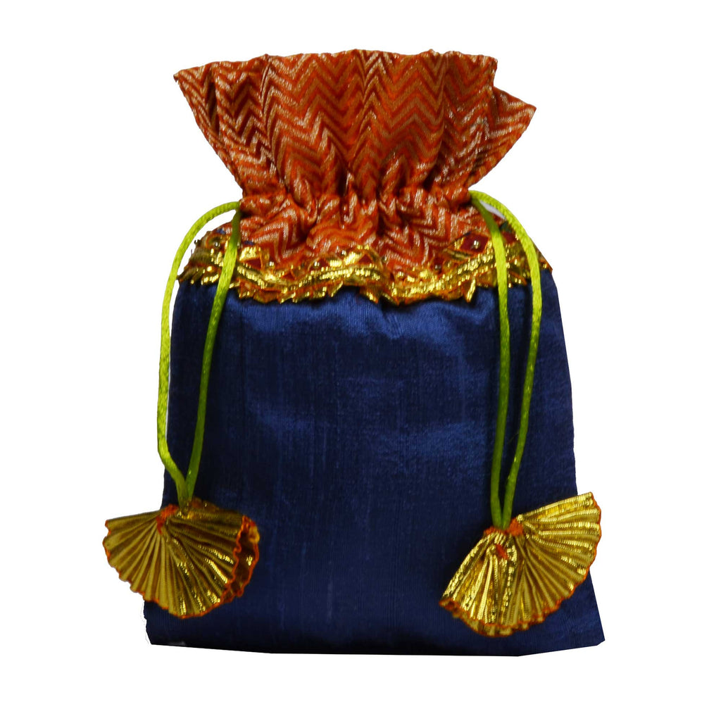 Handmade Grey and Orange Raw Silk Gota Drawstring Bag Buy Online at DesiCrafts
