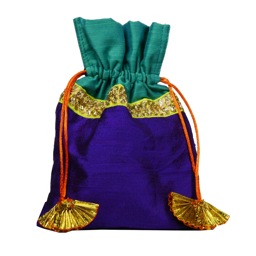 Purple and Sea Green Raw Silk Gota Drawstring Bag Buy Online From DesiCrafts