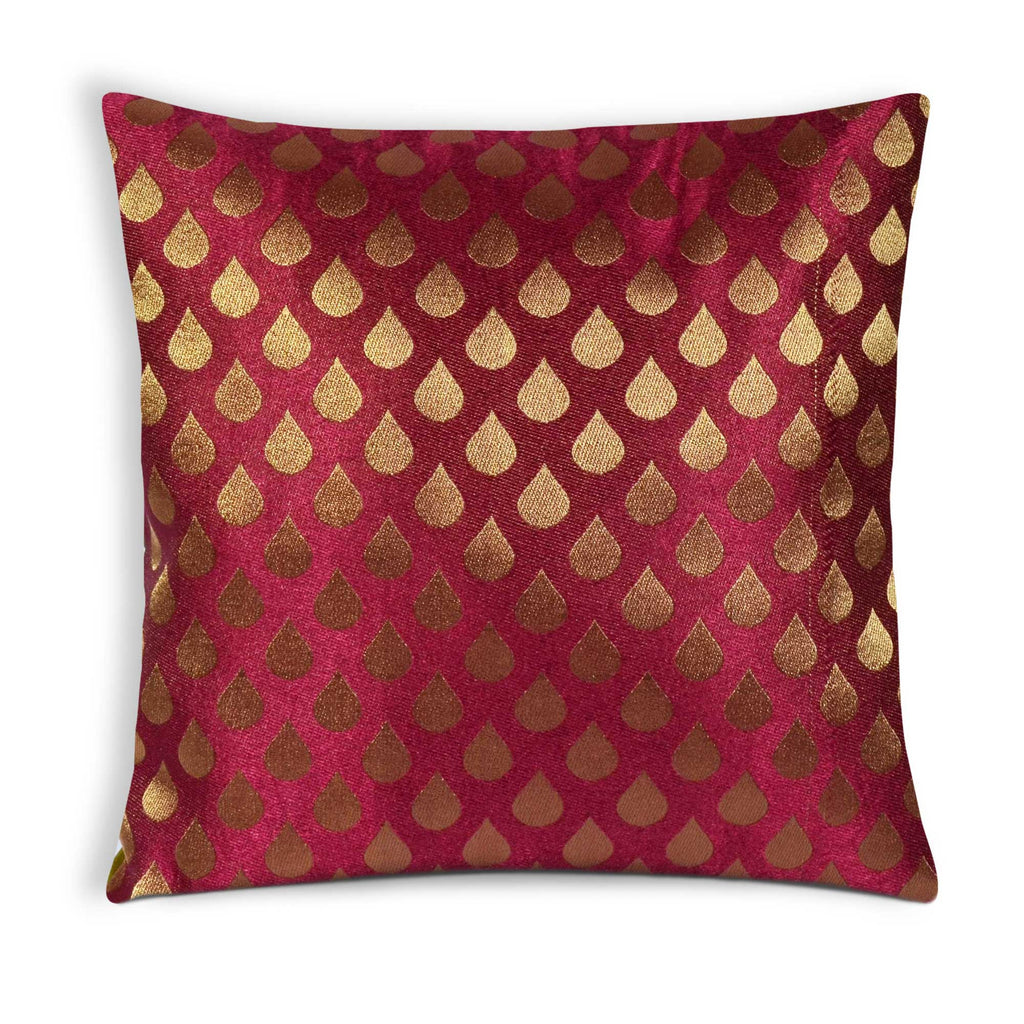 Tear Drop Pink Gold Brocade Silk Cushion Cover