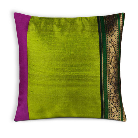 Green Olive Pink Multicolored Raw SIlk Pillow Cover