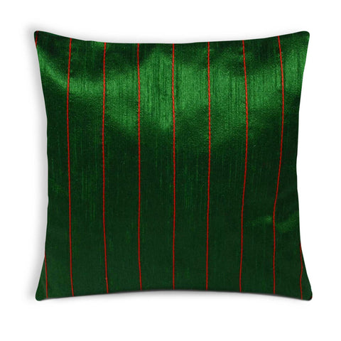 Green and Red Raw Silk Kantha Pillow Cover