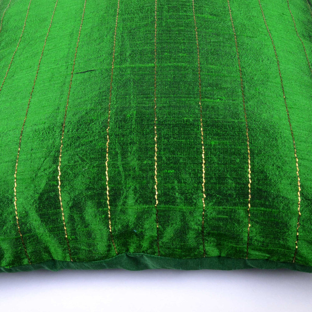 Emerald Green Gold Raw Silk Kantha Pillow Cover