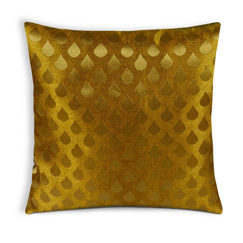 Tear Drop Mustard Olive Brocade Silk Cushion Cover
