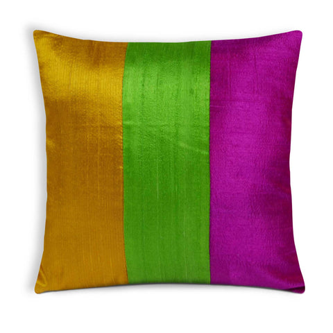 Colorblock Raw Silk Pillow Cover by DesiCrafts