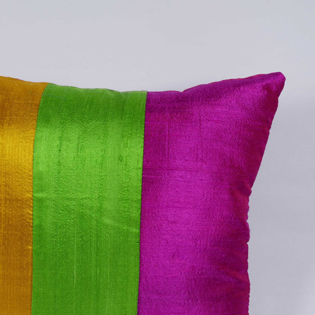 Colorblock Raw Silk Pillow Cover Buy Online from India
