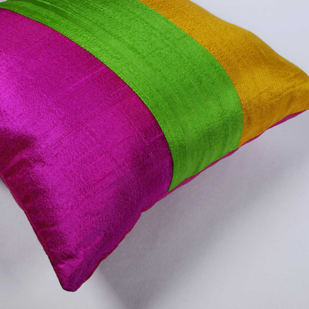 Handmade Colorblock Raw Silk Pillow Cover