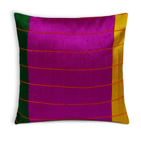 Magenta, Green and Yellow raw silk kantha pillow cover