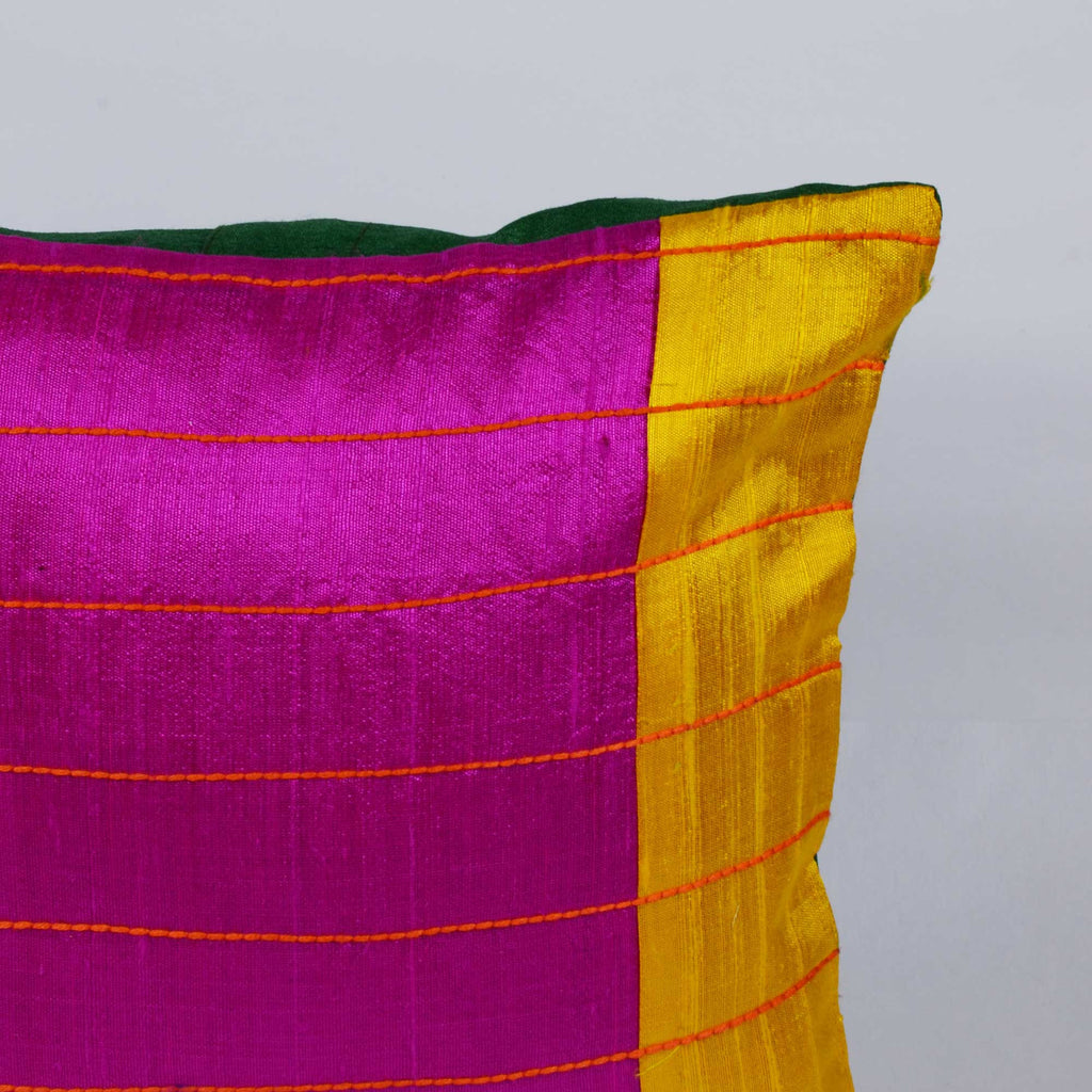 Magenta, Green and Yellow raw silk kantha pillow cover Buy online from India
