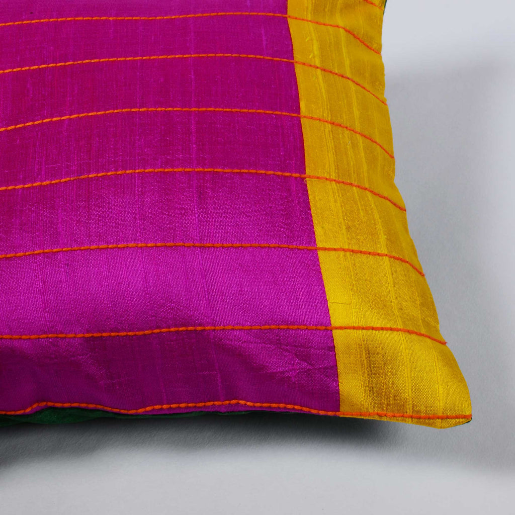 Magenta, Green and Yellow raw silk kantha pillow cover Buy from DesiCrafts