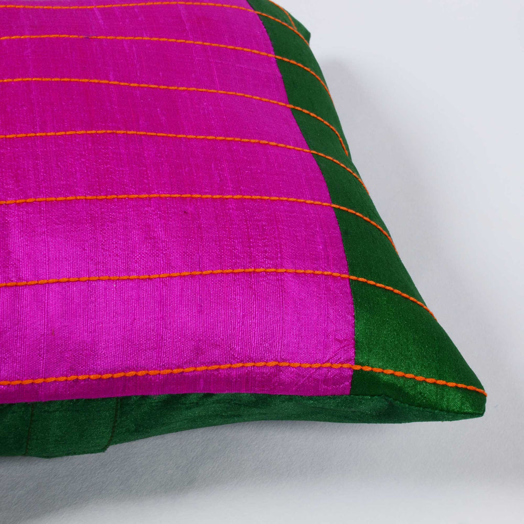 Magenta, Green and Yellow raw silk kantha pillow cover Buy online