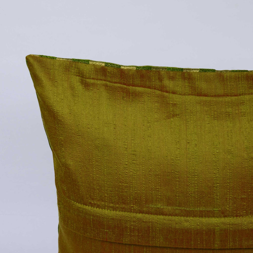 Tear Drop Olive Gold Brocade Silk Cushion Cover