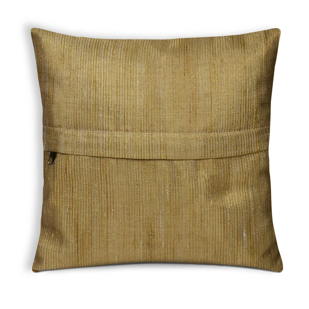 Zipper style Floral Beige Gold Chanderi Pillow Cover