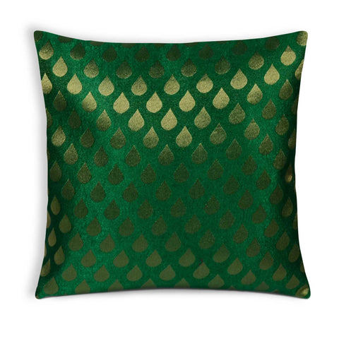 Gold and Green Tear Drop Jacquard Silk Pillow Cover