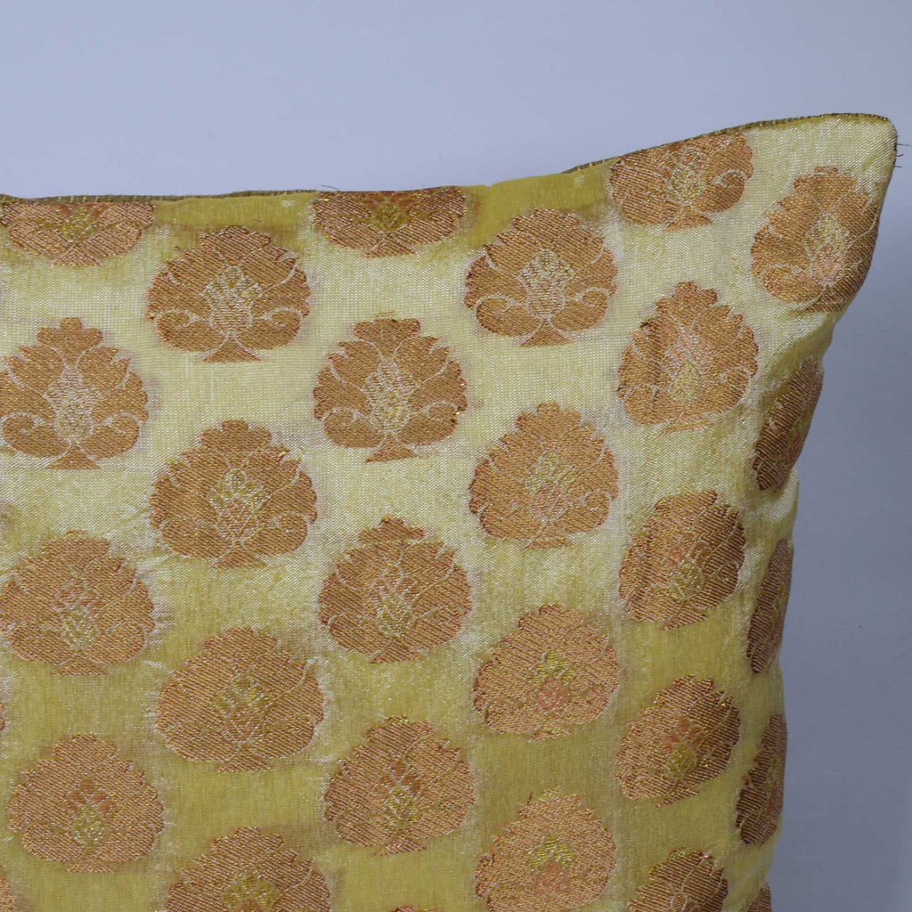 Floral Beige Gold Chanderi Pillow Cover Buy Online from DesiCrafts