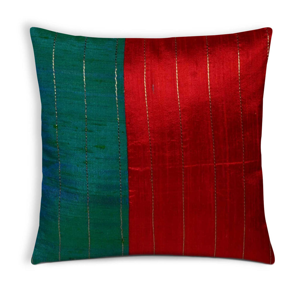 Teal Red Kantha Raw Silk Pillow Cover Buy online from India
