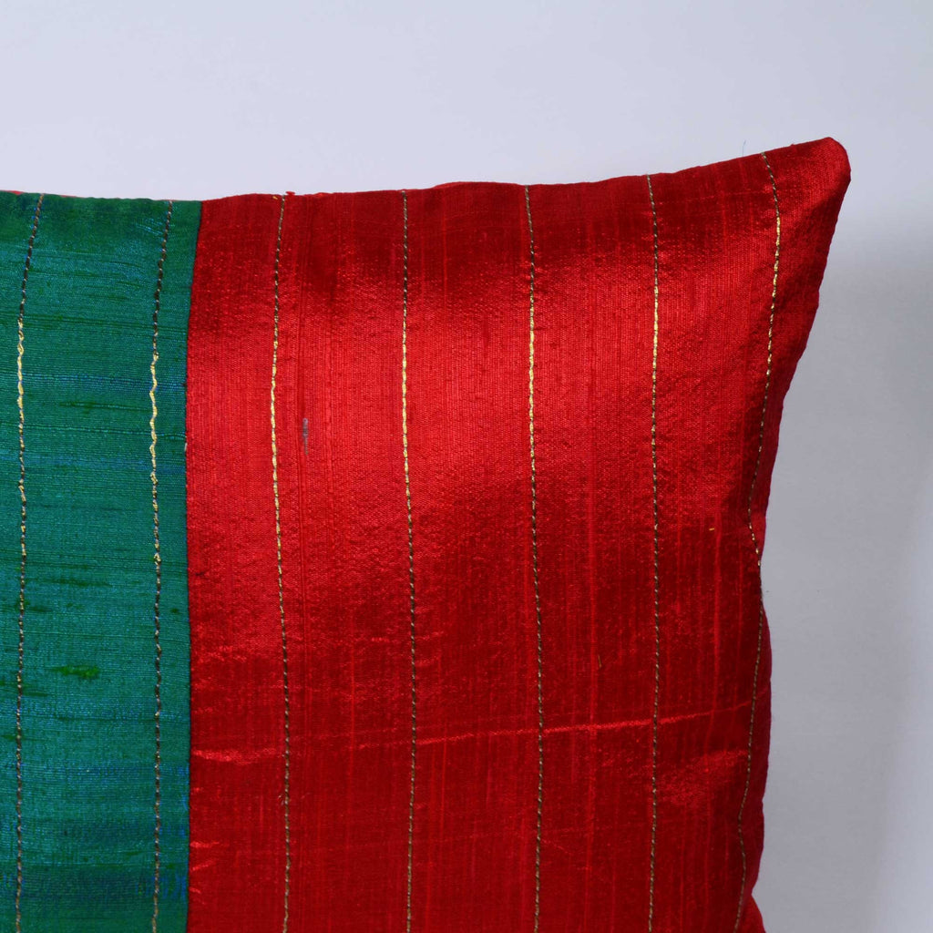 Teal Red Kantha Raw Silk Pillow Cover