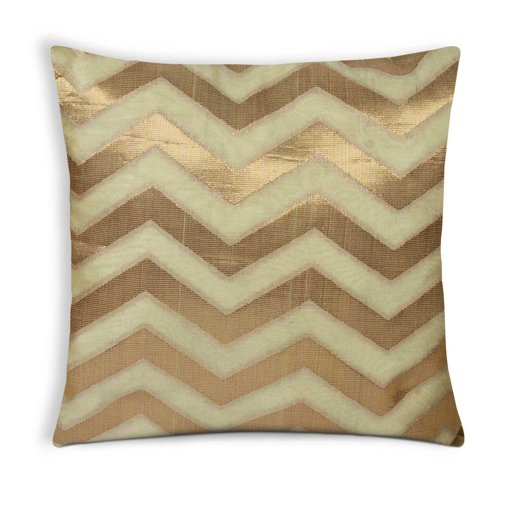 Beige and Gold Chanderi Silk Pillow Cover Buy Online from India