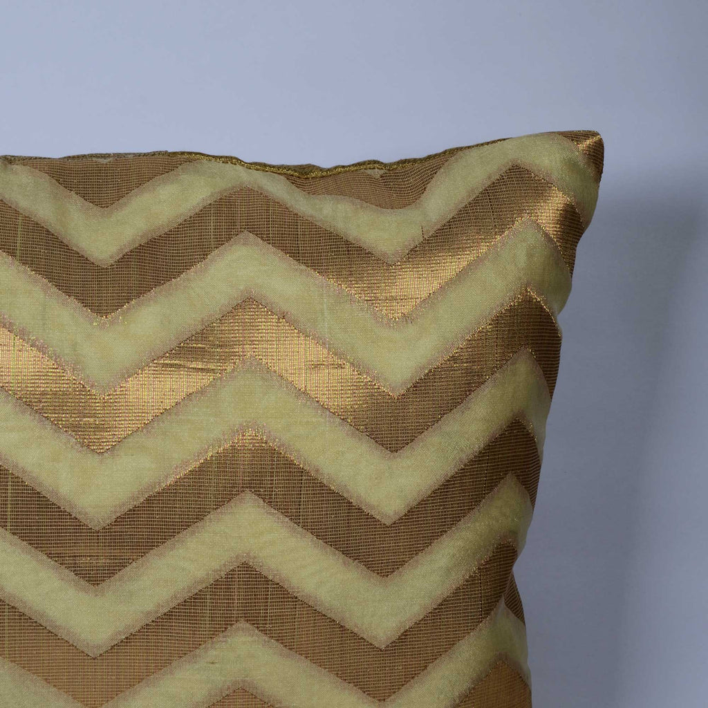 Beige and Gold Chanderi Silk Pillow Cover Buy online from DesiCrafts