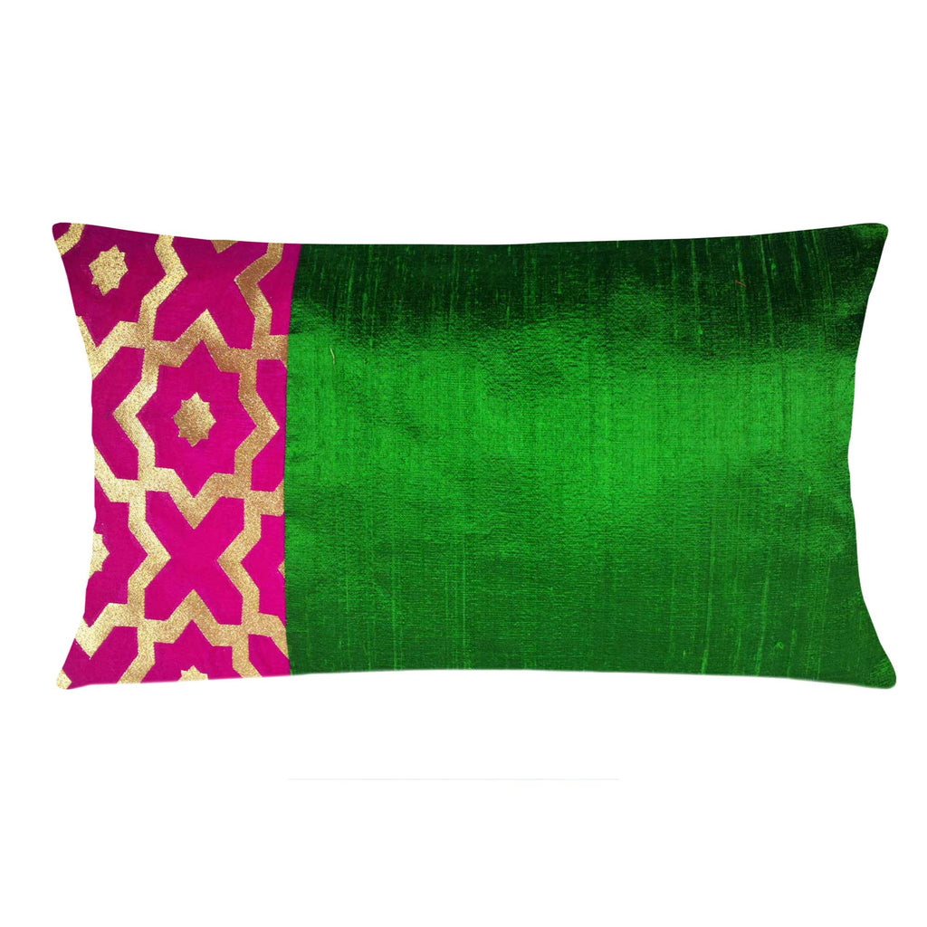 Hot Pink and Gold Moroccan Raw Silk Lumbar Pillow Cover